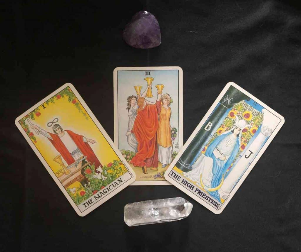 universal waite tarot cards, The Magician, Three of Cups & The High Prisetess