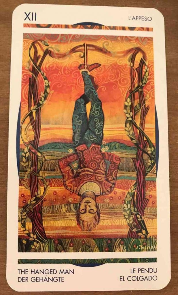 the hanged man depicted in the Crystal Tarot, published by Lo Scarabeo